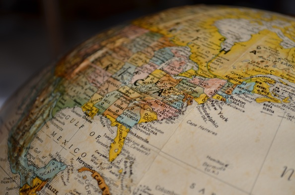 Picture of a globe focused on the US.