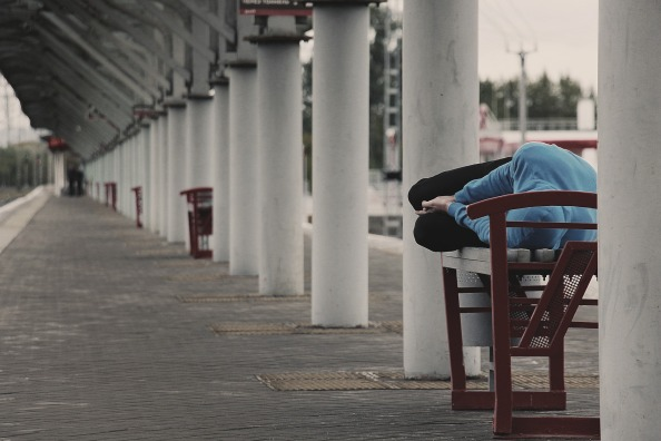 Man resting on a bench