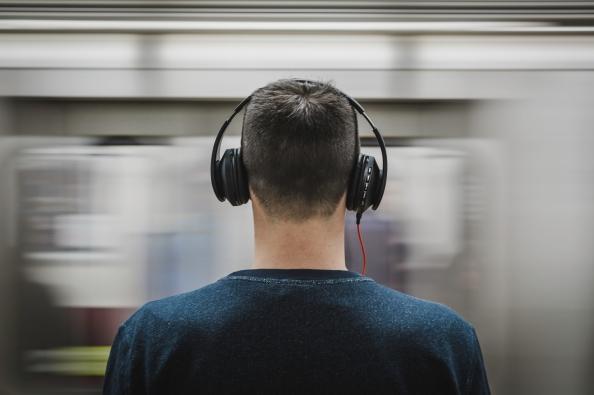 Man wearing headphones.